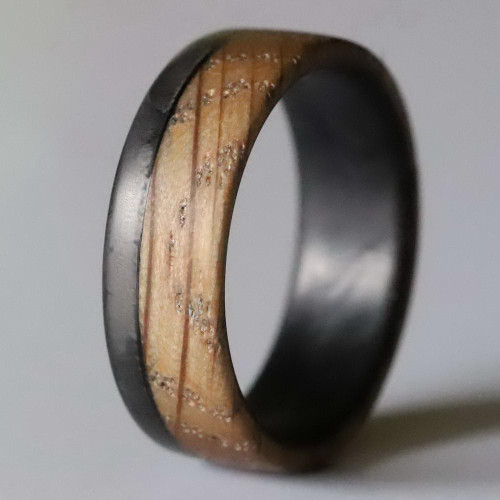 Inspire Carbon Fiber and Whiskey Barrel Wood Wedding Band