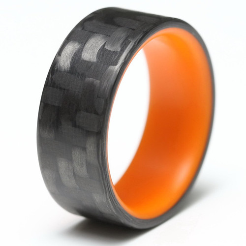 Radiance Orange Glow in the Dark Interior Carbon Fiber Wedding Band