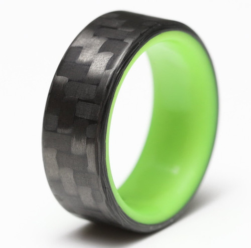 Glimmer Yellow Glow in the Dark Interior Carbon Fiber Wedding Band