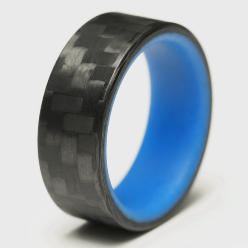Smolder Blue Glow in the Dark Interior Carbon Fiber Wedding Band