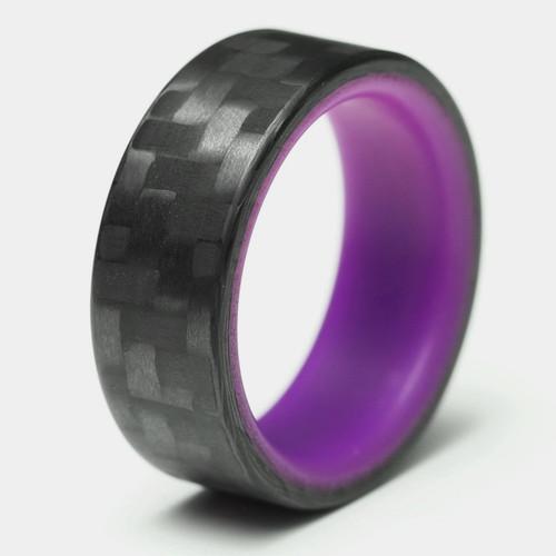 Afterglow Purple Glow in the Dark Interior Carbon Fiber Wedding Band
