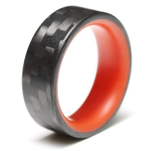 Intensity Red Glow in the Dark Interior Carbon Fiber Wedding Band