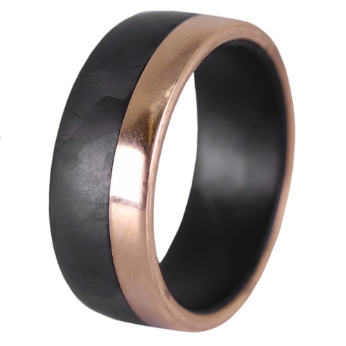 Aftershock Rose Gold and Carbon Fiber Wedding Band