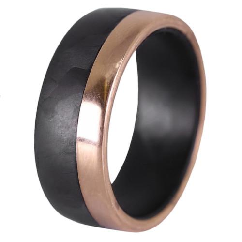 Aftershock Rose Gold and Carbon Fiber Wedding Band