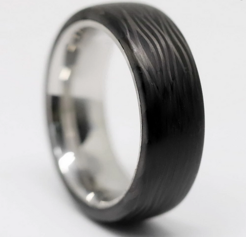 Titanium and Wave Carbon Fiber Wedding Band