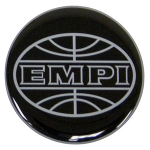 Empi 9664 Wheel Cap/Horn Button Sticker, Empi Logo Black/Silver 43mm