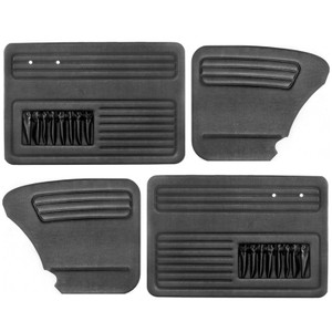 Empi 4852 Black Vinyl VW Beetle Door Panels W/ Pockets 1958-1964, Set Of 4