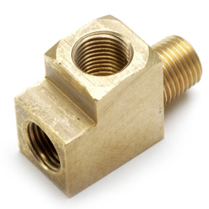"""Empi 9205 Brass T Fitting For Gauges, Male 1/8"""" NPT X 2 Female 10mmx1.0, Each"""