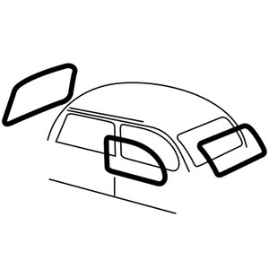 Empi 3599 Cal Look Window Rubber Kit, Vw Bug 1972-1977/Super Beetle 1972, 4 Pc