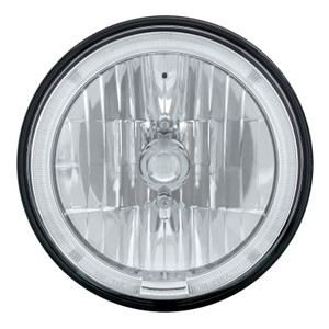 """7"""" Crystal Headlight W/White LED Halo Ring, 9007 Bulb & H4 Adapter"""
