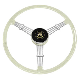 "Empi 79-4060 Banjo Style Grey Vintage 3 Spoke Steering Wheel, 15-1/2"" Diameter"