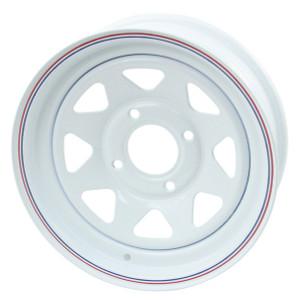 "Empi 10-1002 Vw Baja Bug 15X5  4 Lug White Steel Spoke Wheel 2-1/2"" Back Space"