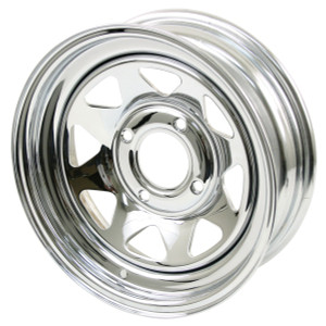"Empi 10-1010 Vw Baja Bug 15X7  4 Lug Chrome Steel Spoke Wheel 3-1/2"" Back Space"