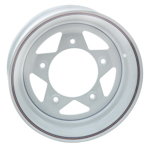 "Empi 10-1015 Vw Baja Bug 15X6  5 Lug White Steel Spoke Wheel 3-1/4"" Back Space"