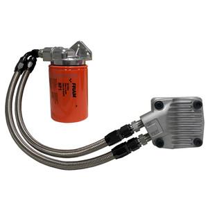 Vw Bug Full Flow Oil Filter System, Black AN Fittings-SS Hose-Dished Cam