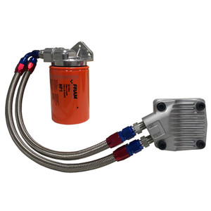 Vw Bug Full Flow Oil Filter System, Blue/Red AN Fittings-SS Hose-Dished Cam