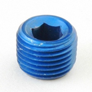 """1/4"""" NPT Blue Aluminum Allen Plug, Pair"""