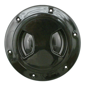 Black Plastic Fuel Gas Cap Cover 6 Bolt Flange With Screw-in Cover