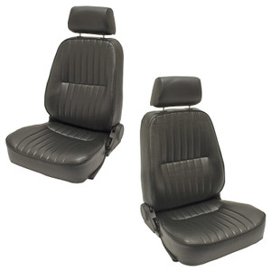 Empi 62-2960 and 62-2961 Black Vinyl Reclining Low Back Bucket Seats W/Headrest, Left Side Right side
