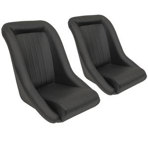 Empi 62-2880 Race Trim Roadster Style Lo-Back Seats - Black Vinyl, Pair (62-2880-PAIR)