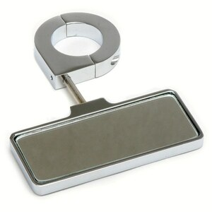 "Polished Aluminum Rear View Mirror - Clamp On 1-1/2"" Tubing"