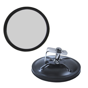 5 Round Black Side View Mirror With Flat Mirror Glass