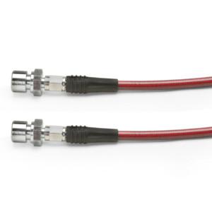 """Red Steel Braided Brake Hose, Vw Swing Axle Rear 1956-1968 11.5"""" Long"""