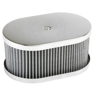 "Chrome Oval Air Cleaner Assembly-IDF Weber/Empi HPMX 4-1/2"" X 7"" X 3-1/2"""