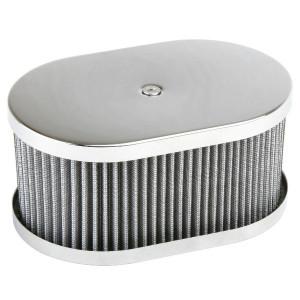 "Chrome Oval Air Cleaner Assembly-IDF Weber/Empi HPMX 4-1/2"" X 7"" X 3-1/2"""