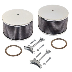 """Chrome Round Air Cleaner Assembly - Solex/Kadron 5-3/4"""" X 3-3/4"""""""