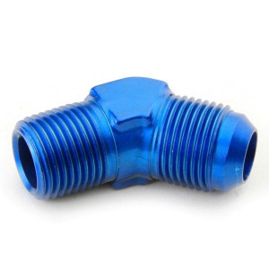 """An Hose Adapter Fitting - Male 1/2"""" NPT To Male #10 / 45 Degree-Blue"""