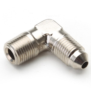 """An Hose Adapter Fitting - Male 1/8"""" NPT To Male #3 / 90 Degree-Steel"""