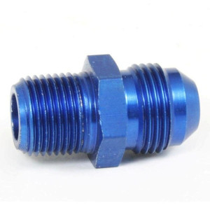 """An Hose Adapter Fitting - Male 3/8"""" NPT To Male #8 / Straight-Blue"""