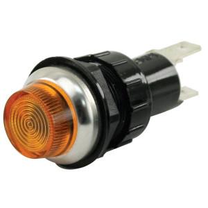 """Amber Indicator Light With Chrome Bezel Ring 1"""" Mounting Hole"""