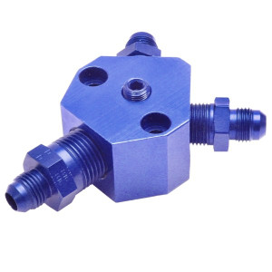 "Blue An Fuel Block With 1/2"" Inlet X 3/8"" Outlets / Fuel T Port"