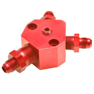 "Red An Fuel Block With 1/2"" Inlet X 3/8"" Outlets / Fuel T Port"
