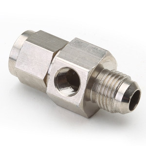 An Adapter For Pressure Gauge - Female #8 To Male #8 Steel