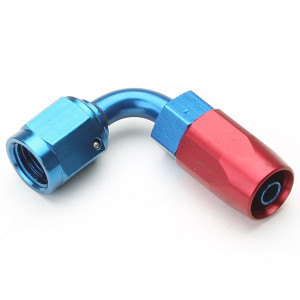 An Hose End Fitting - Female #6 / 90 Degree-Blue/Red