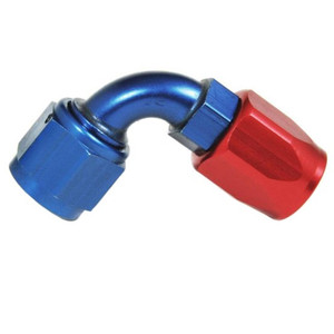An Hose End Fitting - Female #8 / 90 Degree-Blue/Red