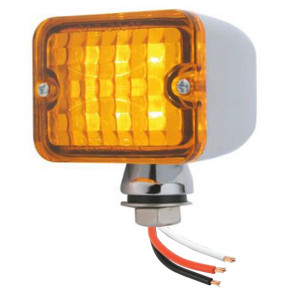 Led Mini Tail Lights - Chrome Housing-Amber Lens-Amber Bulbs