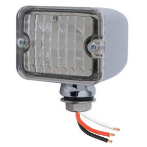 Led Mini Tail Lights - Chrome Housing-Clear Lens-Red Bulbs