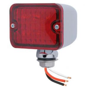Led Mini Tail Lights - Chrome Housing-Red Lens-Red Bulbs