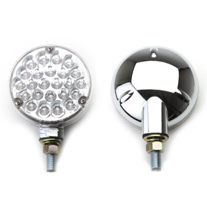 LED Off-Road Lights, Clear Lens Red Lights & Chrome Housing, Pair