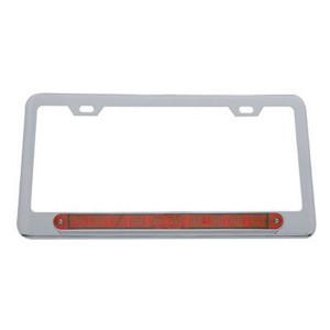 Led Chrome License Plate Frame Red Lens