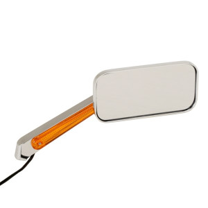 Manx Buggy Chrome Sideview Rectangular Mirror With LED Amber Light