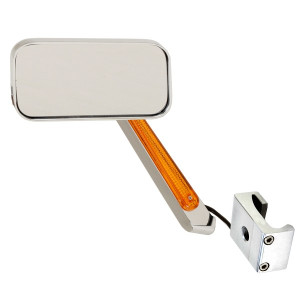 Manx Buggy Chrome Sideview Rectangular Mirror With LED Amber Light 2