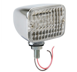Led Mini Tail Lights - Chrome Housing-Clear Lens-Red & Amber Bulbs