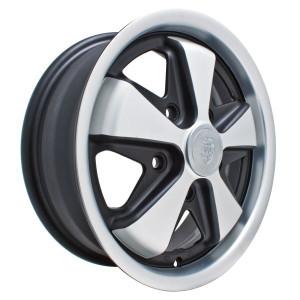 "15"" X 5-1/2"" Porsche 5 Lug Polished / Gloss Black Empi 911 Alloy Wheel"