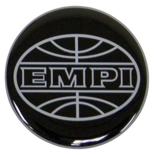 Empi 9664 Wheel Cap/Horn Button Sticker, Empi Logo Black/Silver 43mm