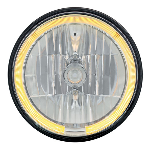 """7"""" Crystal Headlight W/Amber LED Halo Ring, 9007 Bulb & H4 Adapter Included"""